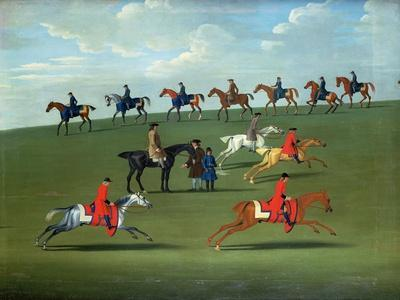 Race Horses Exercising in a Landscape