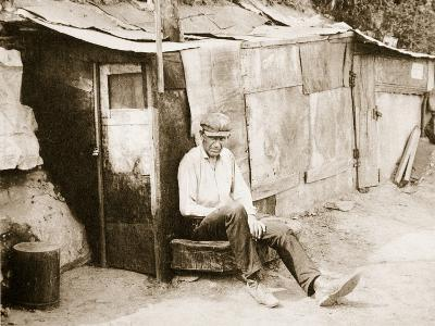 Shack Made of Barrels and Tar Paper, on the River Shore at St. Louis--Photographic Print