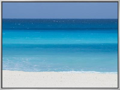 Shades of Blue Color the Beachfront Waters in Cancun, Mexico-Mike Theiss-Framed Canvas Print