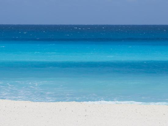 Shades of Blue Color the Beachfront Waters in Cancun, Mexico-Mike Theiss-Photographic Print
