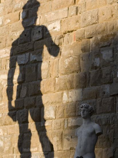 Shadow of Statue of David, Piazza Della Signoria, Florence, Tuscany, Italy, Europe-Martin Child-Photographic Print
