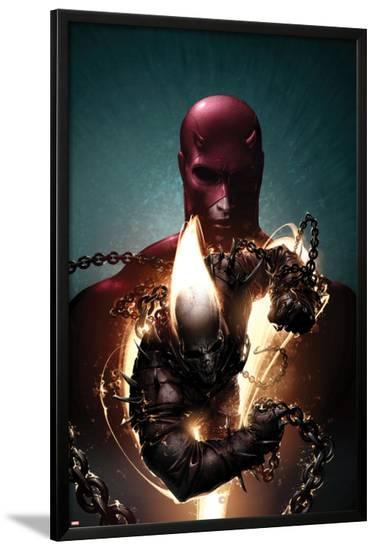 Shadowland: Ghost Rider No.1 Cover: Ghost Rider and Daredevil Posing-Clayton Crain-Lamina Framed Poster
