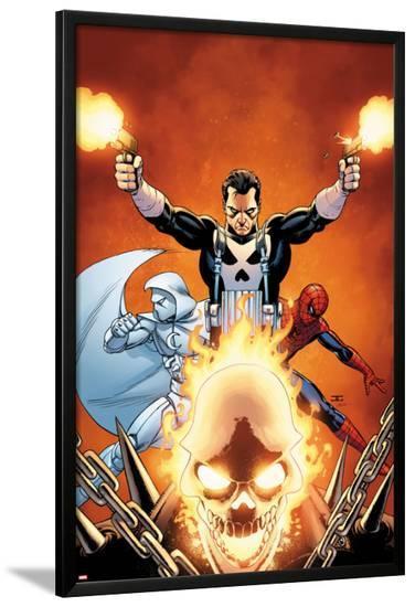 Shadowland No.3 Cover: Ghost Rider, Moon Knight, Spider-Man, and Punisher Posing-John Cassaday-Lamina Framed Poster