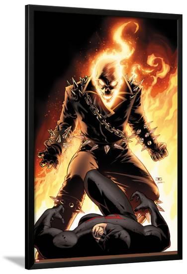 Shadowland No.5 Cover: Ghost Rider and Daredevil Fighting-John Cassaday-Lamina Framed Poster