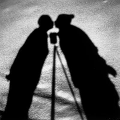 Shadows on Ground of Kissing Figures with Camera on Tripod Between-Alfred Eisenstaedt-Photographic Print
