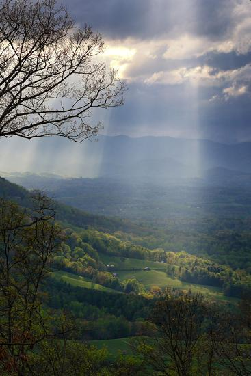 Shafts of Afternoon Sunlight Light Up a Farm in the Valley-Amy White and Al Petteway-Photographic Print