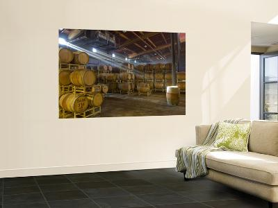 Shafts of Light in Barrel Room of Montevina Winery, Shenandoah Valley, California, USA-Janis Miglavs-Wall Mural