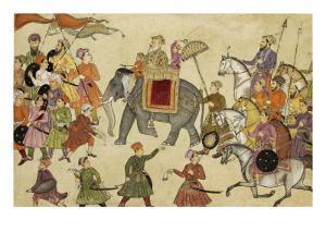 Shah Jahan Mounted on an Elephant with His Retinue