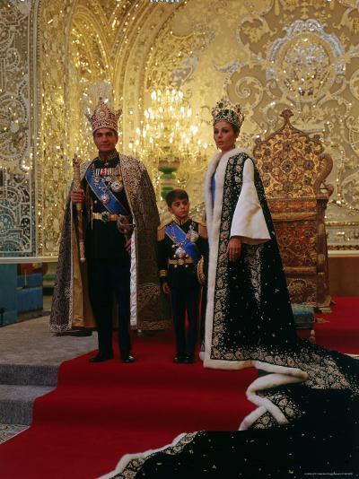 Shah of Iran, Mohamed Reza, Posing with Son Prince Reza and Wife Farah-Dmitri Kessel-Premium Photographic Print