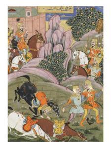 Shahnameh de Ferdowsi ou le Livre des Rois. Bijane et Roham partent attaquer Firoud