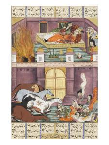 Shahnameh de Ferdowsi ou le Livre des Rois. Mort de Firoud et de sa mère Djerireh