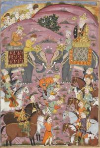 Shahnameh de Ferdowsi ou le Livre des Rois. Première entrevue de Roustam et son aïeul Sam