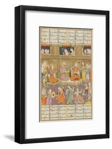 Shahnameh de Ferdowsi ou le Livre des Rois. Réception au palais de Mihras, roi de Kasoul.