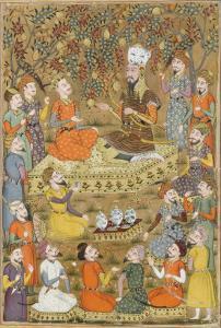 Shahnameh de Ferdowsi ou le Livre des Rois. Roustam demande à Kei Khosraou la grâce de Gourguine