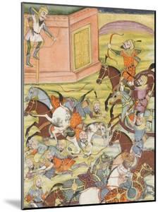 Shahnameh de Ferdowsi ou le Livre des Rois. Sam décoche une flèche à un arche automate