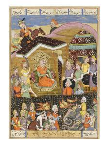 Shahnameh de Ferdowsi ou le Livre des Rois. Sohrab regard la tente noire des chefs de l'armée perse