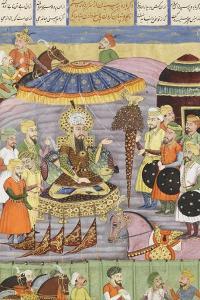 Shahnameh de Ferdowsi ou le Livre des Rois. Sohrab regarde à nouveau la tente de Roustam.