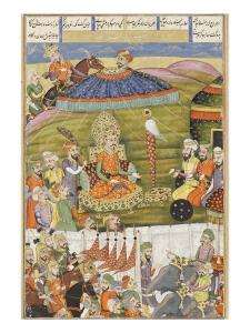 Shahnameh de Ferdowsi ou le Livre des Rois. Sohrab regarde la tente de blanche de Ferisourz