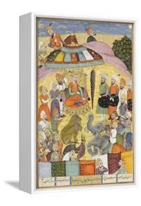 Shahnameh de Ferdowsi ou le Livre des Rois. Sohrab regarde la tente panachés du roi.