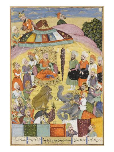 Shahnameh de Ferdowsi ou le Livre des Rois. Sohrab regarde la tente panachés du roi.--Giclee Print