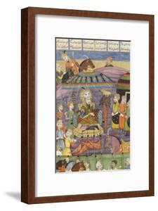 Shahnameh de Ferdowsi ou le Livre des Rois. Sohrab regarde la tente rouge de Rostame, son père.