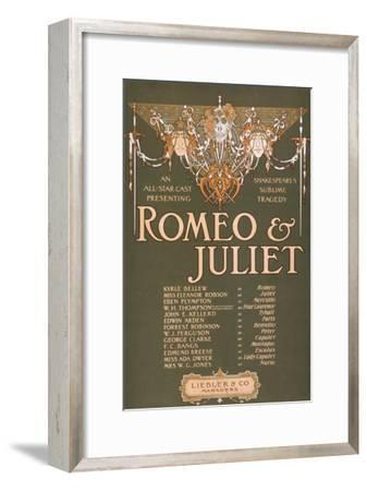 "Shakepeare's Sublime Tragedy ""Romeo & Juliet"" Poster-Lantern Press-Framed Art Print"
