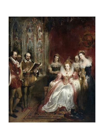 Shakespeare Reading to Queen Elizabeth I-John James Chalon-Giclee Print