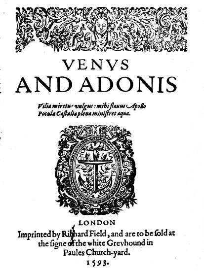 'Shakespeare's First Published Work - 1st Edition of Venus and Adonis', 1593-Unknown-Giclee Print