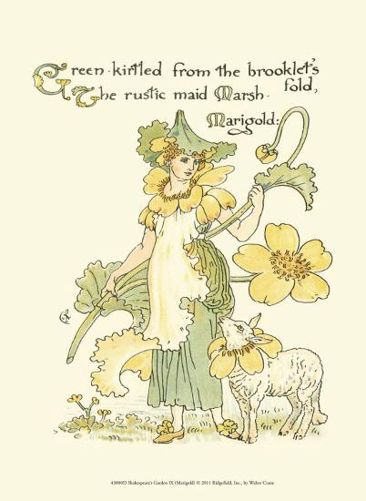 Shakespeare's Garden IX (Marigold)-Walter Crane-Art Print