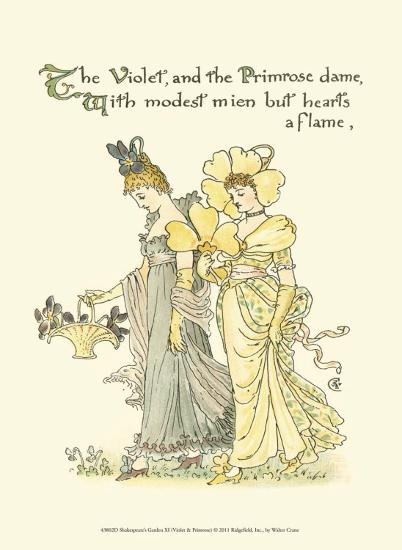 Shakespeare's Garden XI (Violet & Primrose)-Walter Crane-Art Print