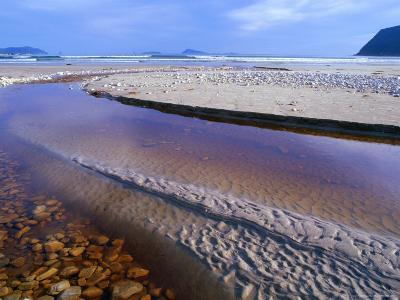 Shallow Water on Stones and Sand at Estuary on Cox Bluff, South West Nat. Park, Tasmania, Australia-Grant Dixon-Photographic Print