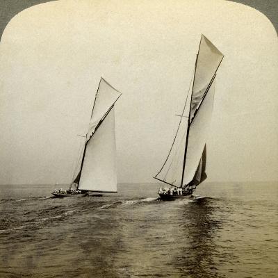 Shamrock I and Shamrock III in a Trial Race Off Sandy Hook, USA-Underwood & Underwood-Photographic Print