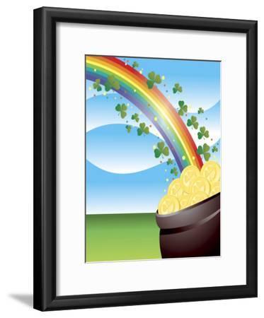 Shamrocks on Rainbow Leading to Pot of Gold