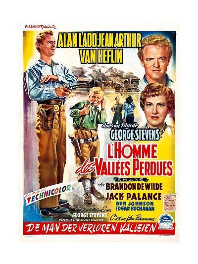 Shane, (aka L'Homme Des Vallees Perdues), Belgian Poster Art, 1953--Giclee Print