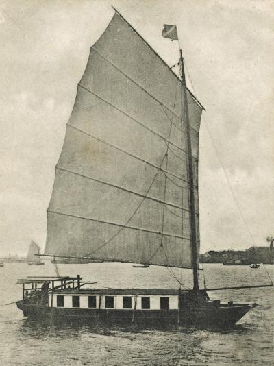 Shanghai, China - Junk Houseboat with the Traditional Wide Square-Shaped Sail--Photographic Print