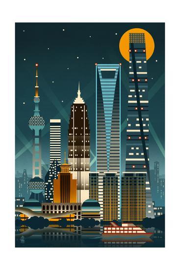 Shanghai, China - Retro Skyline (no text)-Lantern Press-Art Print