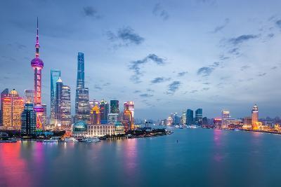 Shanghai in Nightfall, Beautiful Metropolitan Cityscape , China- chuyuss-Photographic Print