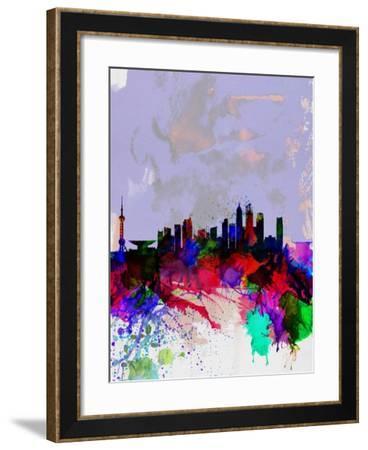 Shanghai Watercolor Skyline-NaxArt-Framed Art Print