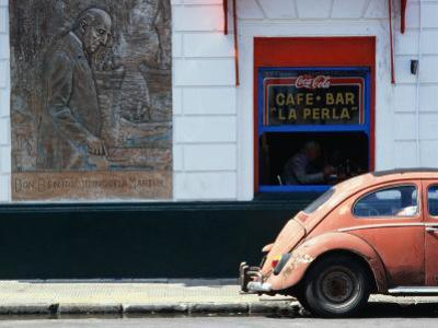 Old Car in Front of Bar in La Boca Harbour Area, Buenos Aires, Buenos Aires, Argentina