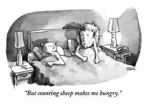 """""""But counting sheep makes me hungry.""""  - New Yorker Cartoon by Shannon Wheeler"""