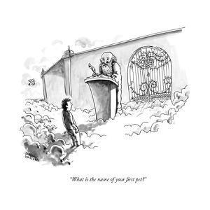 """""""What is the name of your first pet?"""" - New Yorker Cartoon by Shannon Wheeler"""