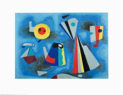 Shapes on Blue-Willi Baumeister-Art Print