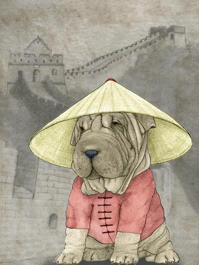 Shar Pei with the Great Wall-Barruf-Art Print