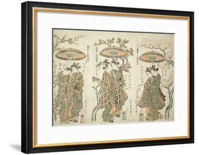 Sharing an Umbrella - A Set of Three , c.1755-Ishikawa Toyonobu-Framed Giclee Print