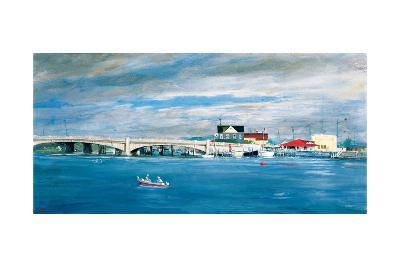 Shark River Bridge: Two Fisherman in a Small Boat Approach the Bridge with its Arched Underpasses-Stanley Meltzoff-Giclee Print