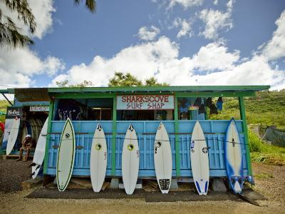 Sharks Cove Surf Shop with New Surfboards Lined Up at Front-Merten Snijders-Photographic Print