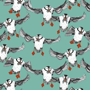 Atlantic Puffins Mint by Sharon Turner