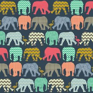 Baby Elephants and Flamingos (Variant 1) by Sharon Turner