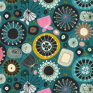 Blooms Teal Sq by Sharon Turner