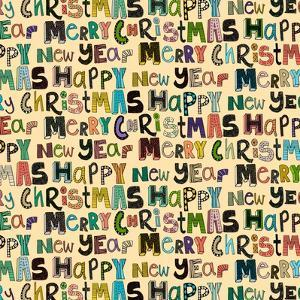 Cream Merry Christmas Happy New Year (Variant 1) by Sharon Turner